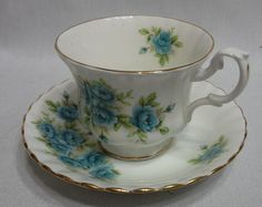 Royal Albert England China Cup & Saucer w Blue Flowers #England
