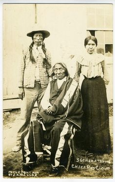 """3 Generations, Chief Red Cloud"" by J A Miller Copyright 1909"
