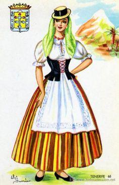 Traditional Fashion, Traditional Dresses, Spanish Fashion, Folk Costume, Canary Islands, Complete Outfits, Fashion History, Dress Up, Vintage Fashion