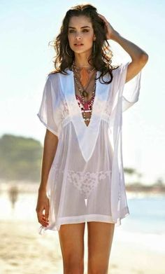 b70b85d497 Sexy sheer white swimsuit beach cover up, boho style, bohemian fashion,  perfect for a summer tropical vacation by the ocean: