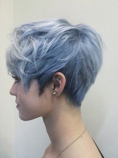 Well, one of the most trendy haircuts this year is the pixie haircut. Short Dyed Hair, Girl Short Hair, Short Hair Cuts, Dyed Pixie Cut, Pixie Cuts, Short Pixie, Pixie Cut Color, Short Blue Hair, Asymmetrical Pixie