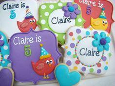 Flowers, polka dots, cute birds, birthday cookies by JJ Spencer, via Flickr