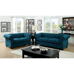 Featuring Button Tufted Cushions With Nail Head Trim Borders, This Fabric  Sofa Set Offers A Timeless Design Bound To Fit Any Living Room.