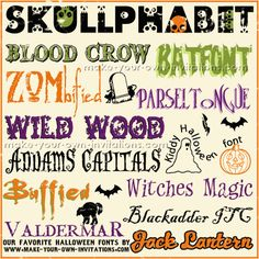 Halloween Fonts - free fonts for Halloween invitations and craft projects - http://www.make-your-own-invitations.com/halloween-invitations.html