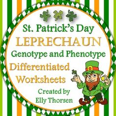 Celebrate St. Patrick's Day in your science classroom with these fun and challenging differentiated leprechaun worksheets. In these worksheets, the students will create Punnett squares to determine the likelihood of certain genotypes and phenotypes in leprechauns.