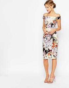 Image 1 of ASOS WEDDING Bardot Navy Floral Off Shoulder Pencil Dress