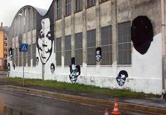 Street art in Busto Arsizio #Milan Italy Bandera by #Ozmo