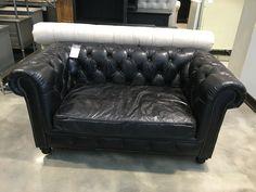 Restoration Hardware: Petite Leather 5' Kensington Sofa $1257 sale