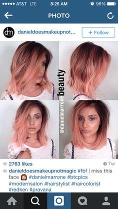 Peach rose gold deep root hair