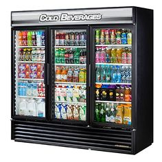 """#manythings #True Food Service Equipment Glass Door Merchandiser known as a Swing Door Refrigerator has a 72 Cubic Feet Capacity with 3 Doors with Low """"E"""" Double..."""