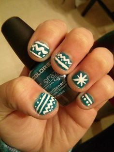 Tribal print nails, winter inspired :)