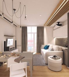 Moderrn apartment in Comfort Town on Behance Condo Interior Design, Studio Interior, Apartment Interior, Small Living Rooms, Living Room Modern, Living Room Designs, Kitchen Room Design, Modern Kitchen Design, Small Apartment Plans