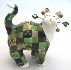 """Whimsiclay ceramic cat """"Pat"""" wearing the colors for St. Pat's Day. $26.99"""