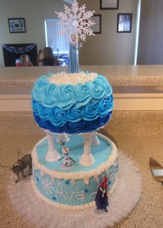 I did another Disney Frozen cake this past week for a friend of ours. Click here  to see the one I did for Annabelle's birthday last y...