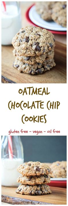 Vegan Oatmeal Chocolate Chip Cookies - just like your favorite classic cookie, but with no dairy, no oil, no gluten, no eggs, and no refined sugar! You'll have to try it to believe how good they are!! #cookies #oatmealcookies #vegan #glutenfree #dairyfree #chocolatechips