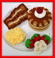 Felt Food Breakfast: Pancakes with Maple Syrup, Whipped Cream and a Cherry, Bacon, Scrambled Eggs and Fresh Fruit ........................ by EvaLauryn | Etsy