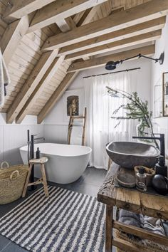 The upstairs bathroom is equipped with a freestanding bathtub made of Technistone and completed with Upstairs Bathrooms, Dream Bathrooms, Beautiful Bathrooms, Chalupa, Bathroom Design Luxury, Bathroom Renos, Interior Exterior, Home Deco, House Design