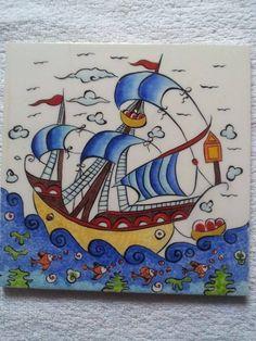 İlk Kalyon denemem Tile Art, Mosaic Art, Pirate Illustration, Turkish Art, Zentangle Patterns, Paint Party, Art Object, Arts And Crafts, Drawings