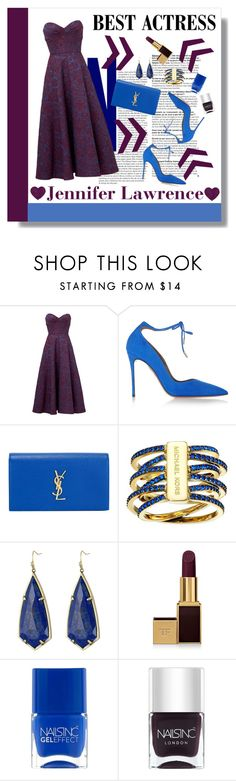 """""""Oscar Red Carpet: Go Glam!"""" by prettylittlemaddy ❤ liked on Polyvore featuring Jill by Jill Stuart, Aquazzura, Yves Saint Laurent, Michael Kors, Kendra Scott, Tom Ford and Nails Inc."""