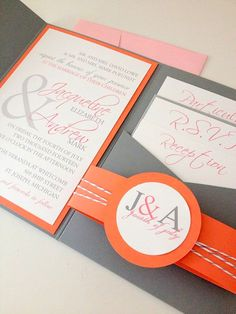 Modern Whimsical Romance pocket wedding invitation in coral and gray