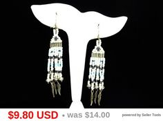Southwestern Beaded Earrings for Pierced Ears - Pearlescent Shades of Blue & White with Feathers - Sterling Silver Fish Hooks - Vintage
