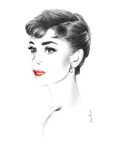 Chacoal Pencil Drawing   Audrey Hepburn Portrait