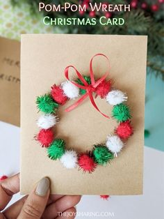 Pom-Pom Wreath Christmas Card : Make these cute and easy DIY Christmas card with children. Easy for kids for all ages to make. Make these cute and easy DIY Christmas card with children. Easy for kids for all ages to make. Simple Christmas Cards, Christmas Card Crafts, Homemade Christmas Cards, Holiday Crafts, Christmas Card Making, Pom Pom Kranz, Christmas Activities For Kids, Christmas Cards For Children, Christmas Card Ideas With Kids