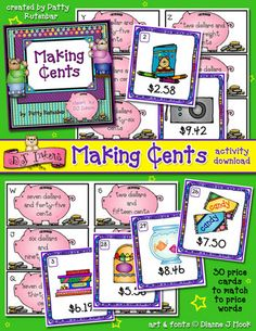 Kids can practice 'Making Cents' of money with this enticing NEW download! Excellent for helping kids learn to recognize prices & money words in the real world. Get yours today!