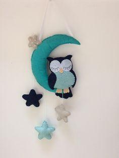 """Mobile de décoration """"hibou bleu et turquoise dans les étoiles """" Decoration, Diy And Crafts, Turquoise, Etsy, Couture, Owls, Snail, Handmade Gifts, Unique Jewelry"""