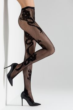 We love the exquisite dragon detail in the Natori Hosiery Dragon Toss Net Tights. Its intricate and iconic styling was designed for Natori's Anniversary Fashion net tights Nylon, Spandex Recommended care: machine wash warm, air dry Style Sheer Tights, Fishnet Tights, Fishnet Stockings, Stockings Lingerie, Black Stockings, Style Geek, Grunge Look, 90s Grunge, Grunge Style