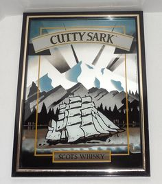 "Vintage USA-Made Cutty Sark (Clipper) ""Scots Whisky"" Framed Pub Mirror 15"" x 20"" #CuttySark"