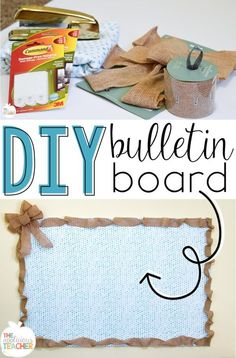 DIY Bulletin board- super easy to make bulletin board using foam and Command strips. You can even staple right into it! way better than taping everything to paper on the wall. Burlap Bulletin Boards, Bulletin Board Paper, Bulletin Board Borders, Classroom Bulletin Boards, Classroom Setup, Classroom Design, Classroom Organization, Classroom Management, Classroom Environment