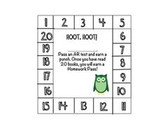 $0 Owl Behavior Punch Card, great for punching every time they pass an AR test