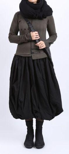 rundholz black label - Kleid mit Ballonrock und Print beluga - Winter 2016 - stilecht - mode für frauen mit format...