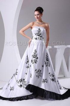 Magnifique robe de mariée pas chère broderies satin en couleur