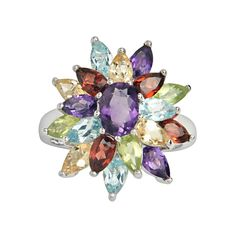 On Sale for 60% Off. Order the Sterling Silver Gemstone Floral Cluster Ring today. #cocktailring #gemstone #sale #discount