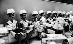 Under heat: vintage hair salon photo.