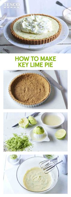 Master this delicious key lime pie recipe in just six steps. With its buttery biscuit base and sweet, citrussy filling, it's no wonder this dessert is an established American classic. | Tesco