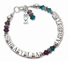 Mom Bracelet up to Two Names - Birthstone Crystals and Sterling Silver (Krista) - Bailey's Beads & Beyond $68 http://www.baileysbeadsandbeyond.com/store/WsDefault.asp?One=845