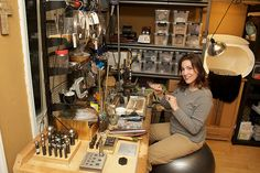 """by sarawestermark, via Flickr Sara has a cool workspace going on here. I'm guessing that there's very limited room. She has the classic 6"""" x 6"""" work area. The rest is filled with cool tools."""