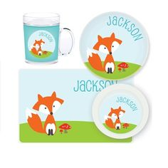 Fox Personalised Kids Mealtime Set $32.95 - $39.95 #sweetcreations #baby #toddlers #kids #personalised Personalized Gifts For Kids, Personalized Stickers, Fox Kids, Daughter Of God, Custom Labels, Diy For Kids, Crafts, Foxes, Toddlers