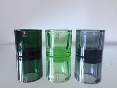 3 candleholders 2 Green 1 Gray Designed by Heikki Orvola in 1988 6 cm tall and 6 cm wide In very good used condition Marimekko is embissed on the base Marimekko, Different Colors, Candle Holders, Conditioner, Candles, How To Make, Etsy, Design, Porta Velas