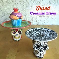 Skull   Cupcake Fused Ceramic Trays