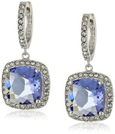Sterling Silver Swarovski www.teelieturner.com Tanzanite and Clear Crystal Dangle Earrings $41.81 #sparkle
