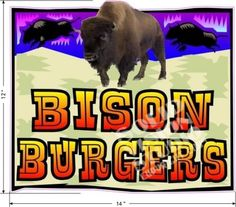 "12"" Bison Burgers Buffalo Concession Trailer Truck Restaurant Sign Decal  #SolidVisionStudio"