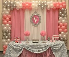 Princess baby shower party backdrop and dessert table! See more party planning ideas at CatchMyParty.com! #decoracionbabyshowergirl