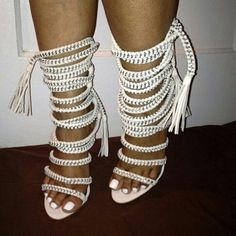 Shop at www.karensclosetny.com #whiteshoes #ankleheels Monika Chiang, Ankle Heels, White Heels, Latest Shoes, Shoe Shop, Lace Up Sandals, Gladiator Sandals, Fashion Sites, Passion For Fashion
