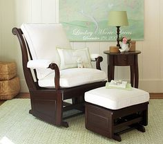 On Sale at Pottery Barn Kids right now! May have to make an early purchase! $79.99 regular $150 Larkin Glider & Ottoman #PotteryBarnKids