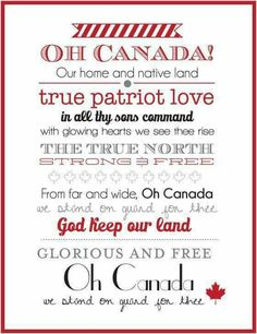 Canada Day Wall Art - I'd prefer we move to singing the line 'in all of us command'. But Canada is a great & caring nation. We must be thankful for it & give all we can to it & its many people. Canada Day Party, Canada Day 150, Happy Canada Day, Canada Canada, Canadian Things, I Am Canadian, Canadian History, Canadian Flags, Canadian Dishes