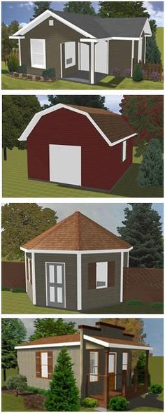 Free Shed Blueprints - Download free plans, by CabinsAndSheds.com, for building any of four unusual sheds.